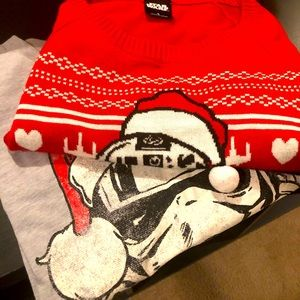 His & Hers Star Wars Christmas Tee: L & Sweater: S